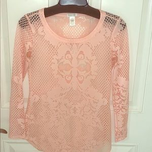 PINK SHEER LONG SLEEVE TOP FROM CACHE SIZE XS